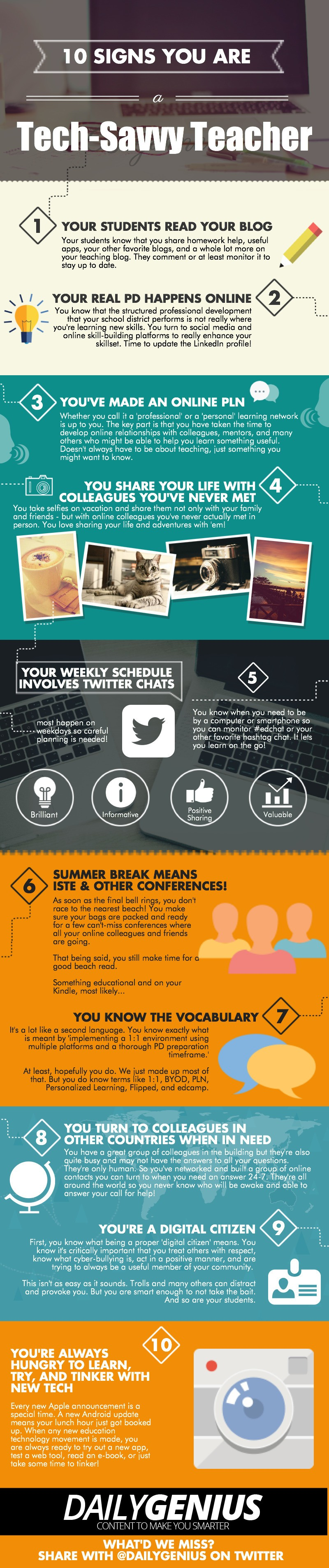 10 Signs You Are a Tech-Savvy Teacher Infographic