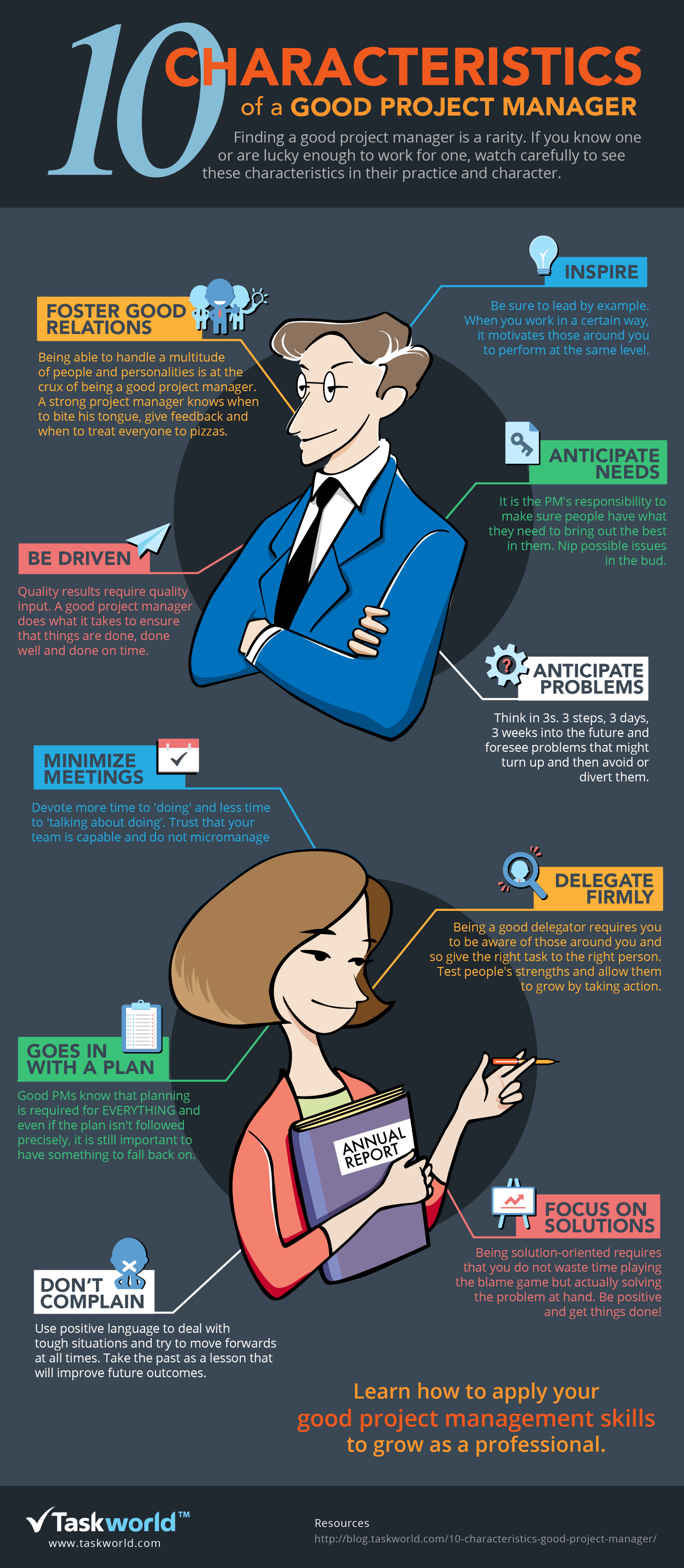 Top 10 Characteristics Of The Ideal Project Manager Infographic