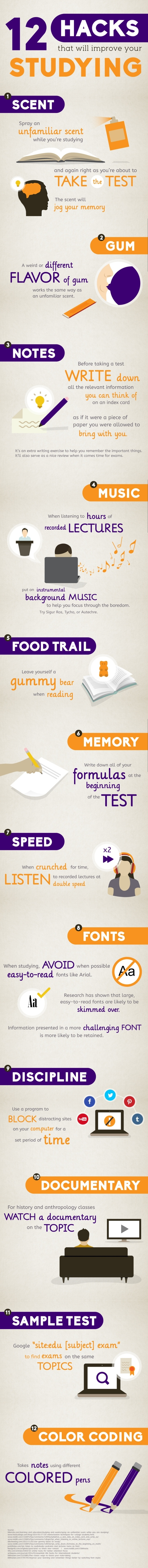 12 Hacks That Will Improve Your Studying Infographic