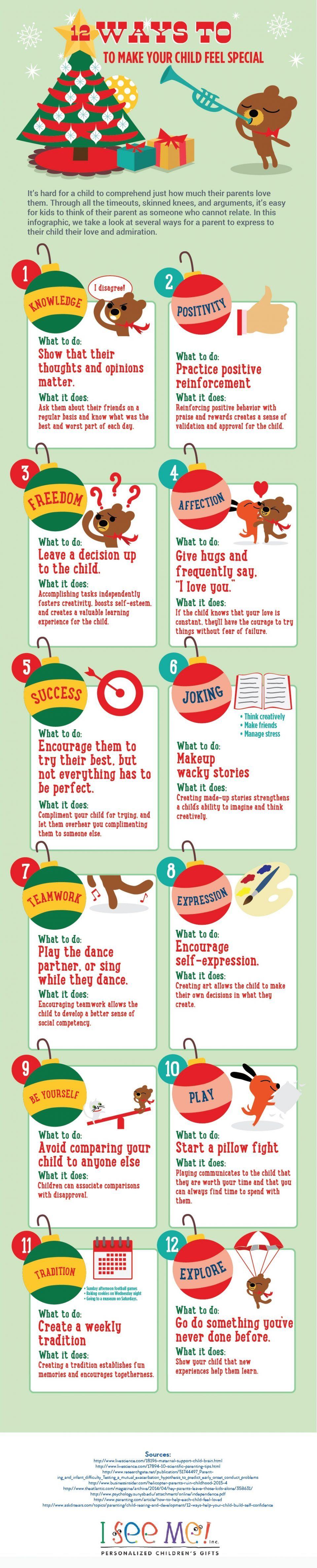 The 12 Ways to Make Your Child Feel Special Infographic takes a look at several ways for a parent to express to their child their love and admiration.