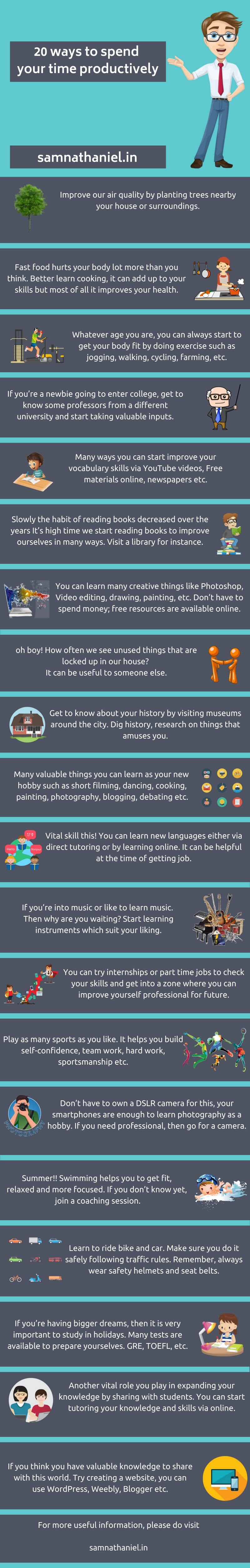20 Ways To Spend Your Time Productively - Sam Nathaniel Infographic