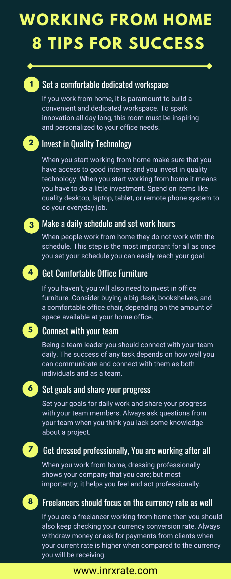Working from Home – 8 Tips for Success