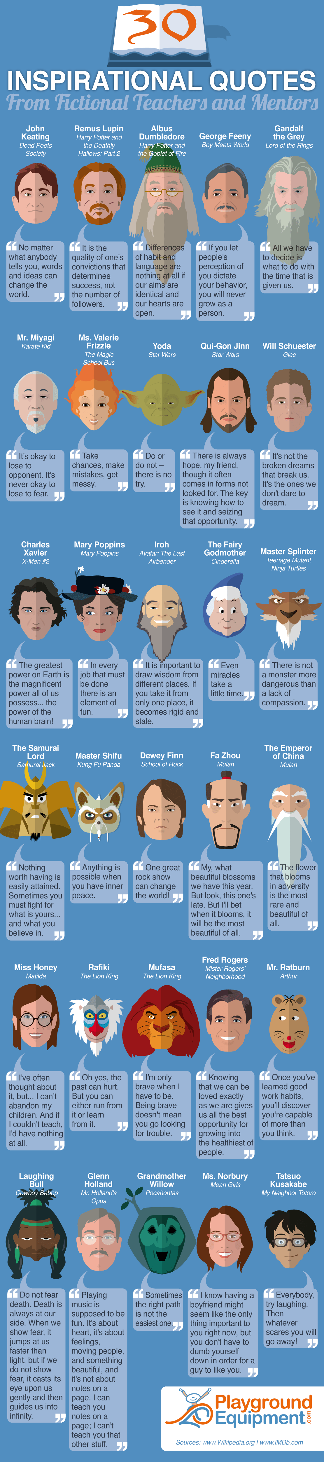 30 Inspirational Quotes from Fictional Teachers and Mentors Infographic