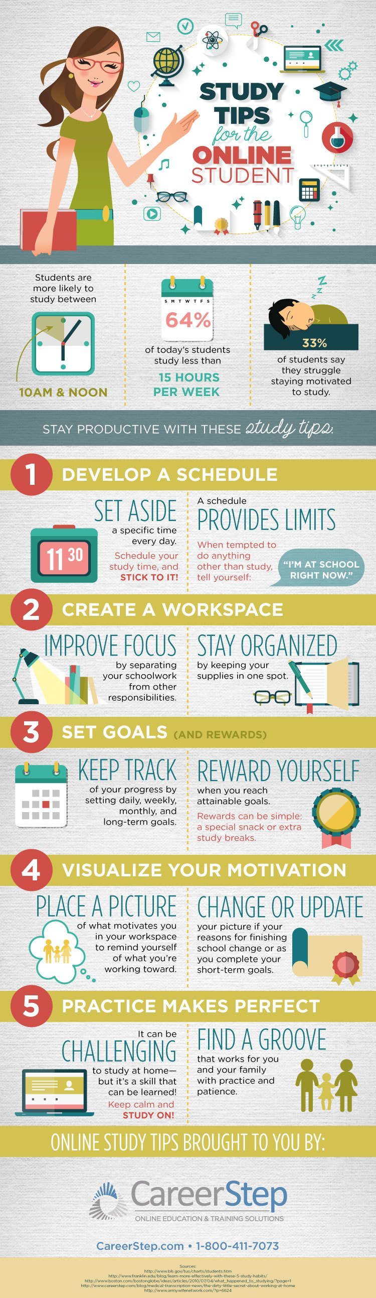 5 Great Study Tips For Online Students Infographic