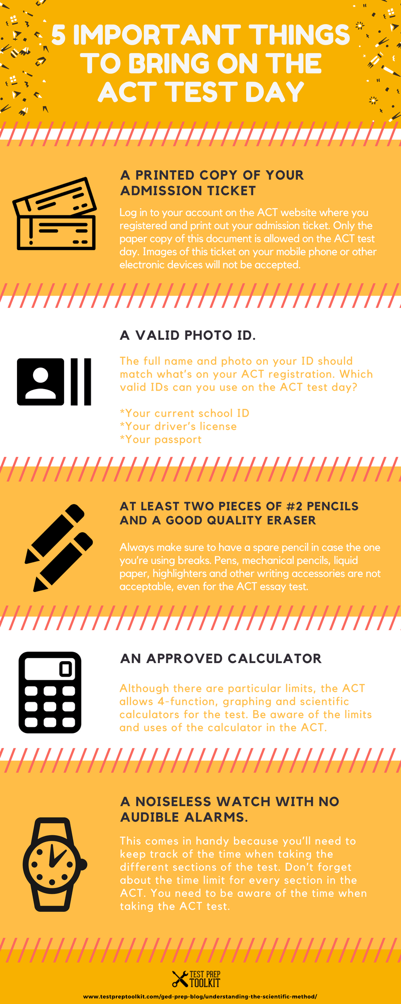 5 Important Things To Bring On The ACT Test Day Infographic