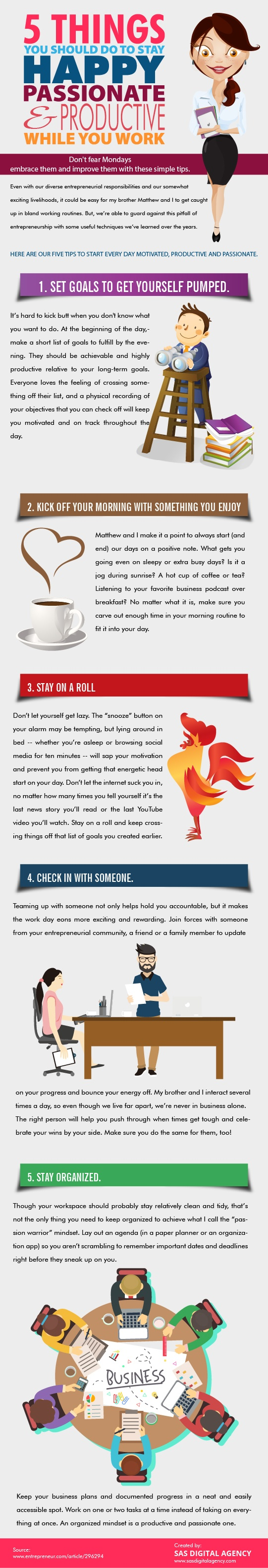 5 Things You Should Do To Stay Happy And Productive While You Work Infographic