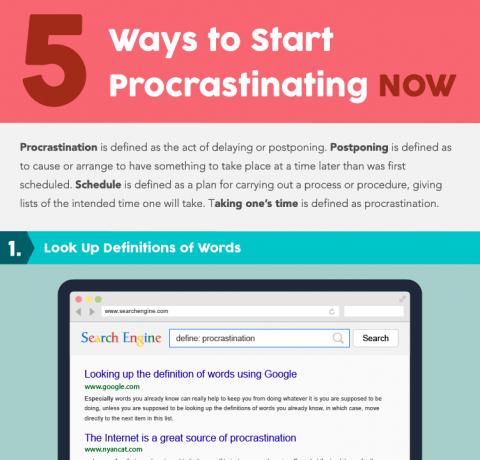 5 Ways to Procrastinating Now Infographic