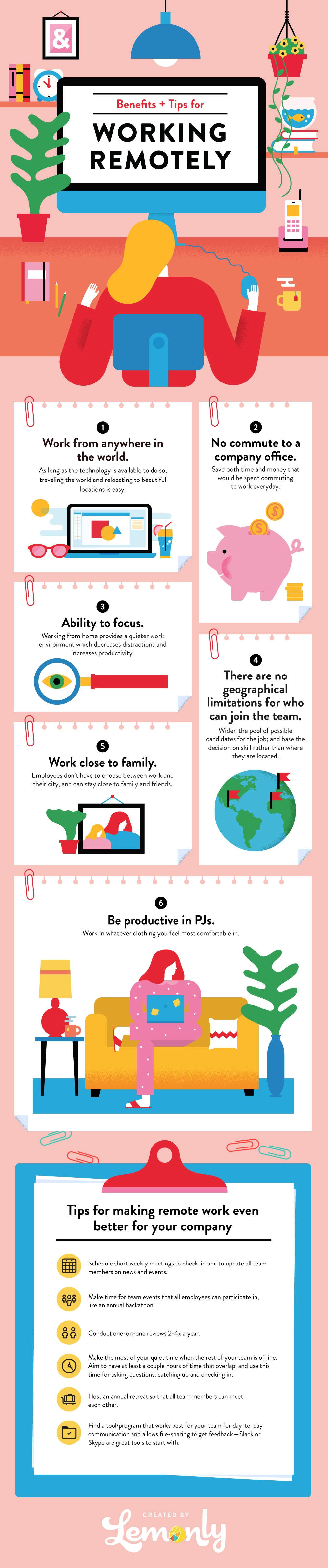 Benefits and Tips for Working Remotely Infographic