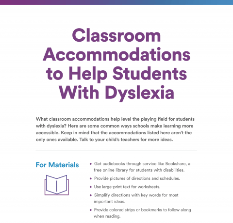 Accommodating Students With Dyslexia >> Classroom Accommodations For Dyslexia Infographic E Learning