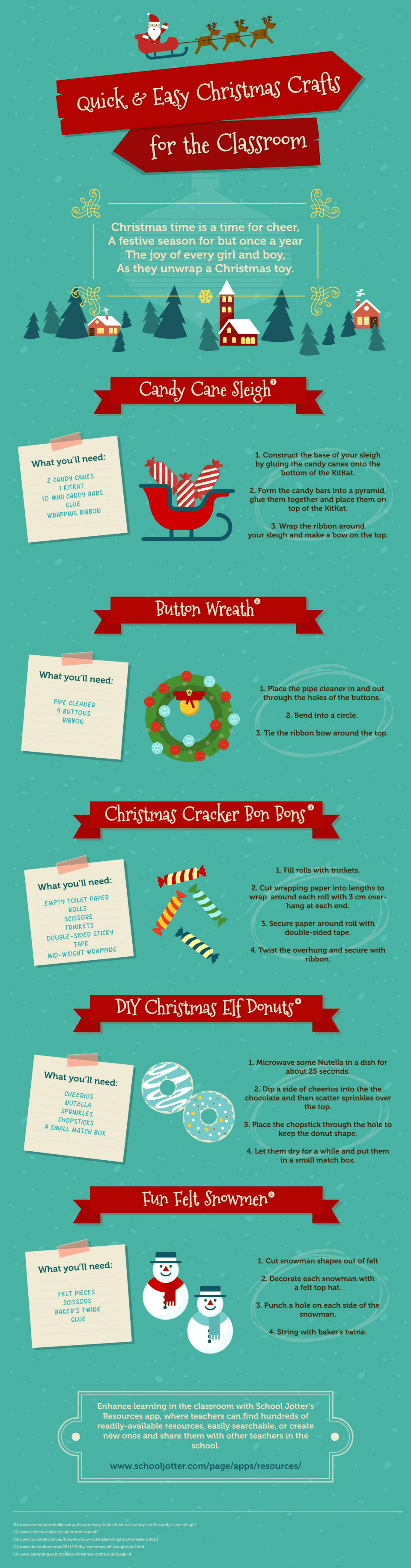 Quick & Easy Christmas Crafts for the Classroom Infographic