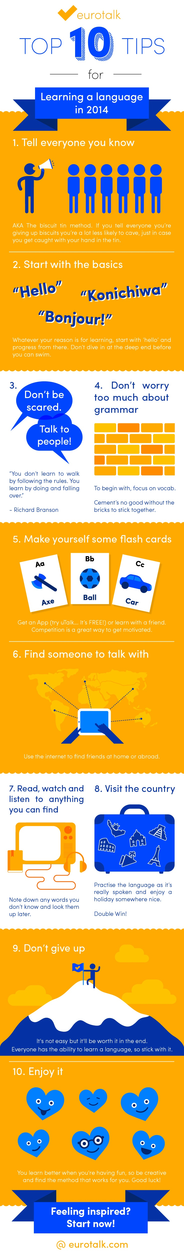 Top 10 Tips for Learning a Language Infographic