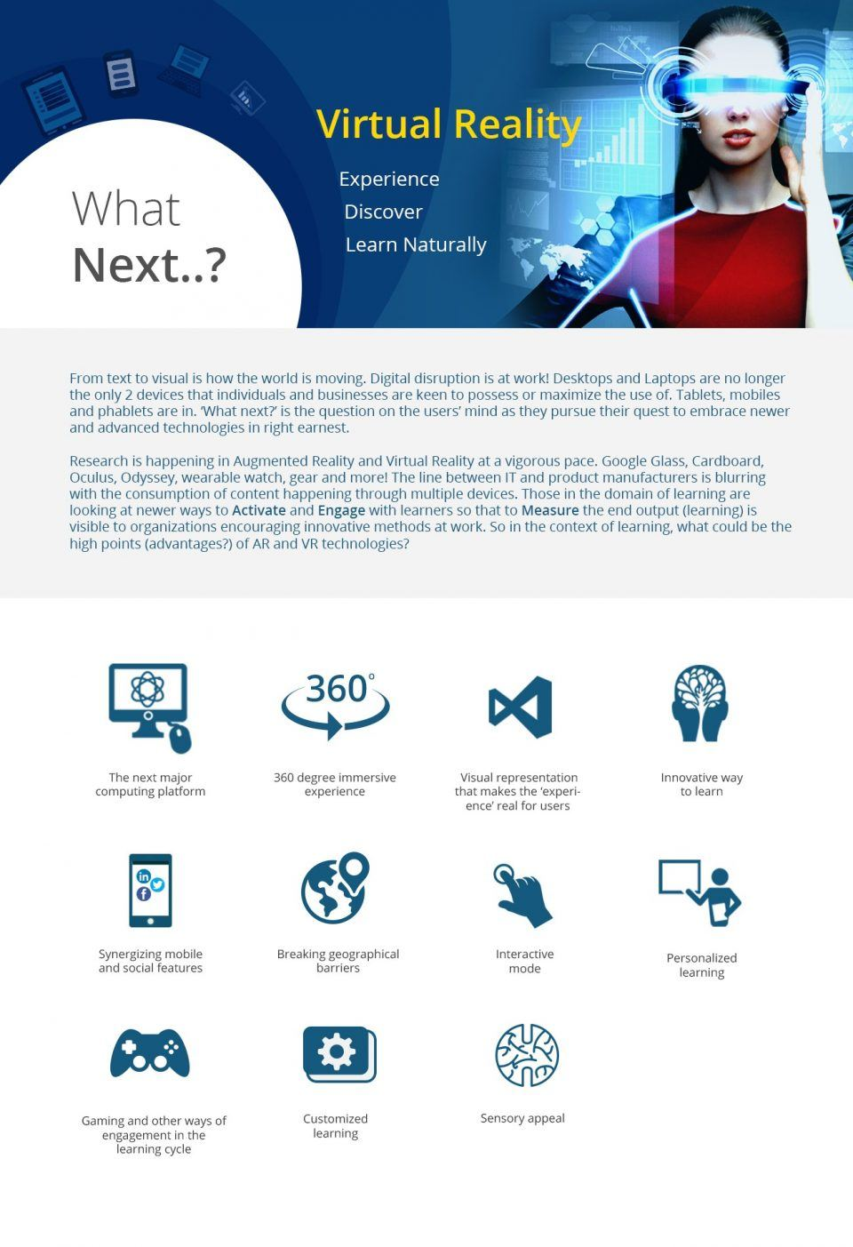 Virtual Reality: Experience, Discover, Learn Naturally Infographic